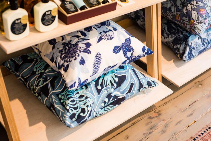 Utopia Goods hand screen printed cushions.  L-R: Kookburra, Firewheel, Mottlecah and Rock Wallaby.
