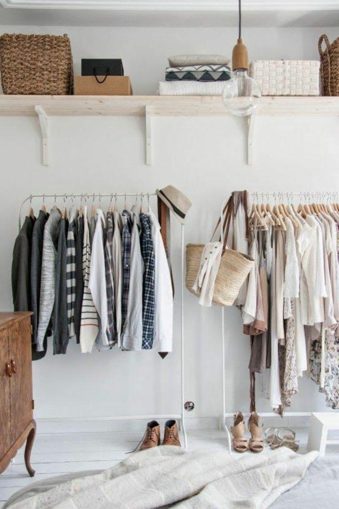 aménager un dressing, rangement de vêtements minimaliste