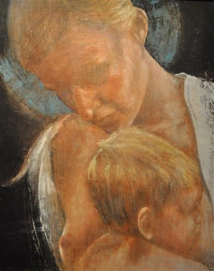 "Orange Art Gallery - Ann-Marie Brown - Madonna; Purchase Online; Encaustic & Oil on Canvas, 24"" x 36"". Painting."