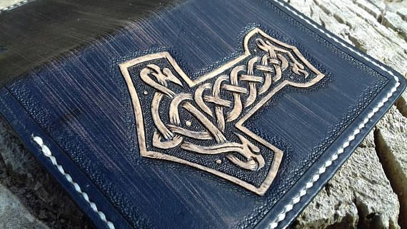 <b>Leather passport</b> cover, Thors Hammer, Viking, Carving, Holder ...