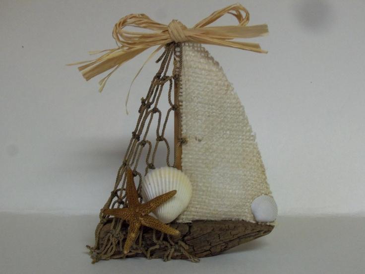 Driftwood Sailboat Mini Ornament. $10.00, via Etsy.