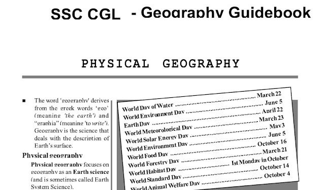 Geography PDF Download for SSC CGL, CHSL
