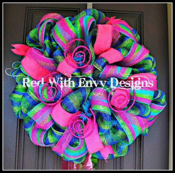 Summer Wreath, Summer, Spring Wreath, Wreath, Deco Mesh Wreath on Etsy, $70.00