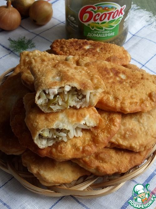 Пирожки с рисом, курицей и огурцом - кулинарный рецепт