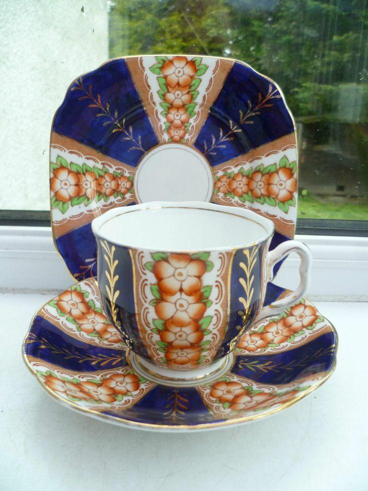 Vintage Royal Albert Crown China Trio Tea Cup Saucer Plate Cobalt Gilded | eBay