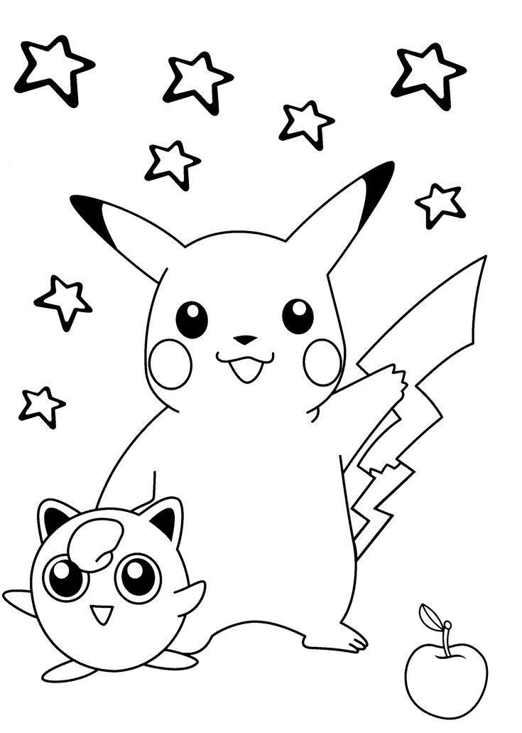 Smiling pokemon coloring pages for kids printable free pokemon coloring sheetspikachu