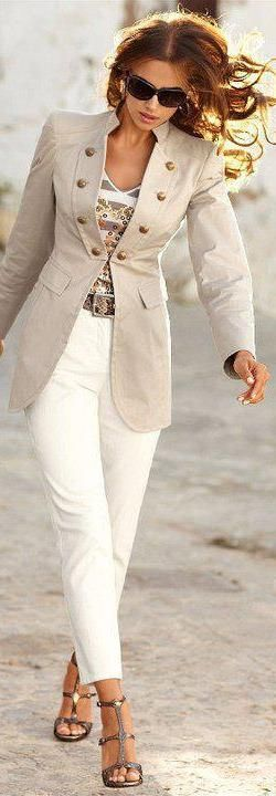 Beige blazer with white jeans, brown  summer slippers , thats the look with gold buttons and jewels