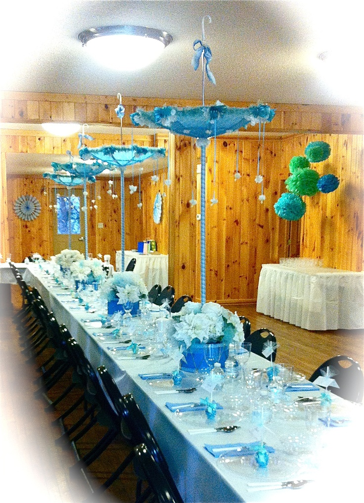 Elegant baby shower table with umbrella centerpieces Elegant baby shower decorations