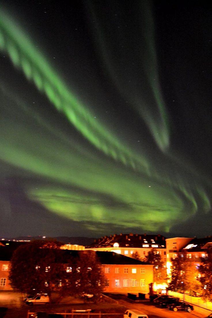 Nordlys over Buran Trondheim (Foto: Ingvild Schou )