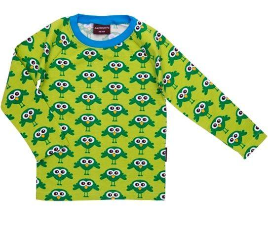 MAXOMORRA - T-shirt à manches longues en coton bio pour enfant, Oiseaux Verts - VÊTEMENTS BIO/T-shirts, hauts - MaMoulia