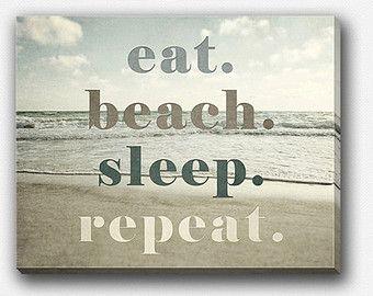 Beach Decor Canvas Wrap, Beach Gallery Wrap Canvas, Beach Quote, Beach Wall Art Canvas, Ocean, Eat Beach Sleep Repeat, Funny Beach Art.