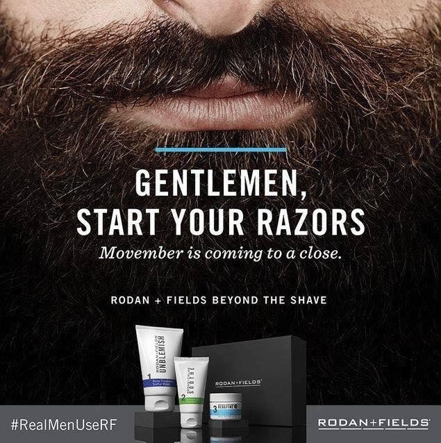 Bkruger.myrandf.com  Private Message me today to get the men in your lives the Rodan and Fields Beyond the Shave regimen!! Men using the regimen say they had less irritation, razor burn, and experienced a smoother shave and softer skin!! Cyber Monday extended-- Preferred Customers receive 10% off, free shipping, and choice between a FREE Redefine Night Renewing Serum or a FREE Redefine Lip Renewing Serum for themselves or use as a stocking stuffer!!!!!
