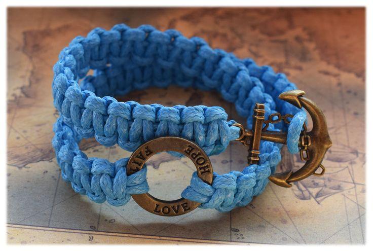 Handmade bracelet, braided bracelet, bracelet shamballa, metal bead, anchor, faith hope love, blue cord