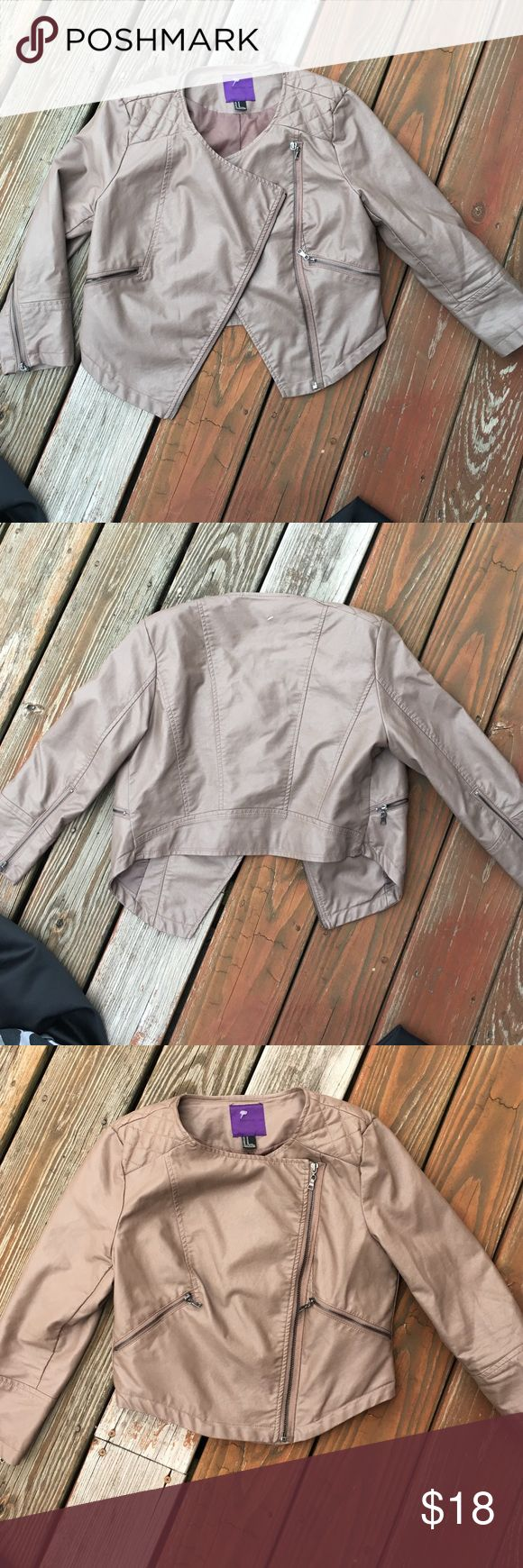 Forever 21 Tan Leather Jacket Size Medium Great condition. Size Medium the color is the first two pictures not third. Forever 21 Jackets & Coats