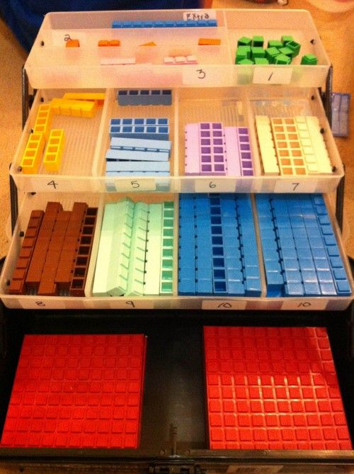 Why oh why oh WHY have I never thought to organize Math-U-See blocks in a tackle box like this??  So SMART.
