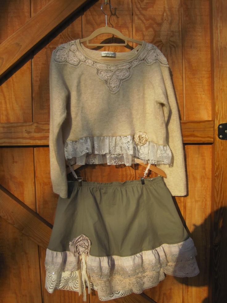 boho skirt lolita skirt mori skirt khatki lace skirt funky shabby chic upcycled skirt m. Black Bedroom Furniture Sets. Home Design Ideas