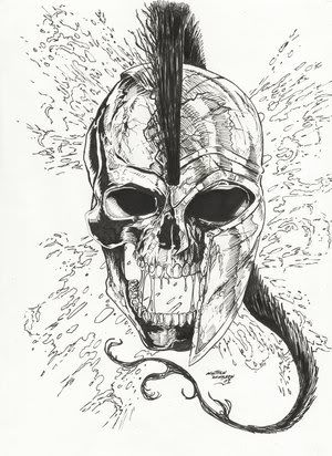 Spartan skull tattoo design