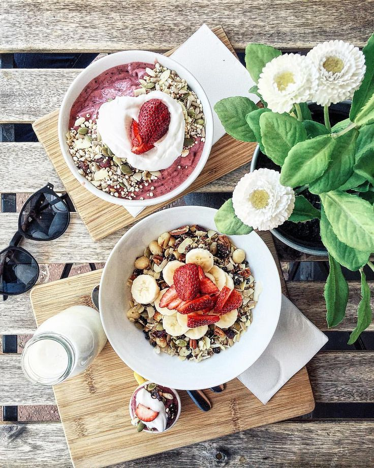 "naturallytess: "" Lunch today was just perfect  granola for me, smoothie bowl for boyf  thanks @nutritionrepublic for providing the healthy goods  (at Nutrition Republic) """