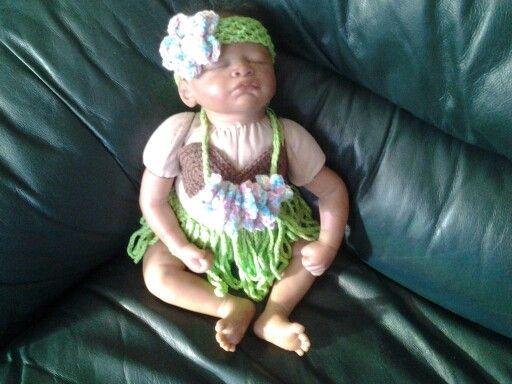 Hula Baby - grass skirt, coconut bra, flower lei & headband