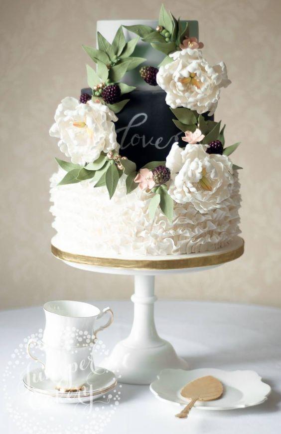 Gorgeously unique white flower wedding cake; Featured Cake: Juniper Cakery
