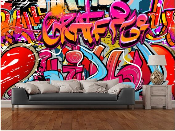 30.00$  Watch here - http://alidgg.shopchina.info/go.php?t=32547785429 - Custom 3D personality wallpaper, hip hop graffiti murals for the living room bedroom TV background wall waterproof wallpaper  #aliexpresschina