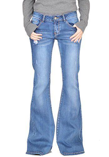 9561253020c Vaqueros Acampanados Efecto Roto para Mujer Jeans de Campana Estilo Flare -  Azul - 46