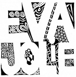 Negative space zen tangle name art