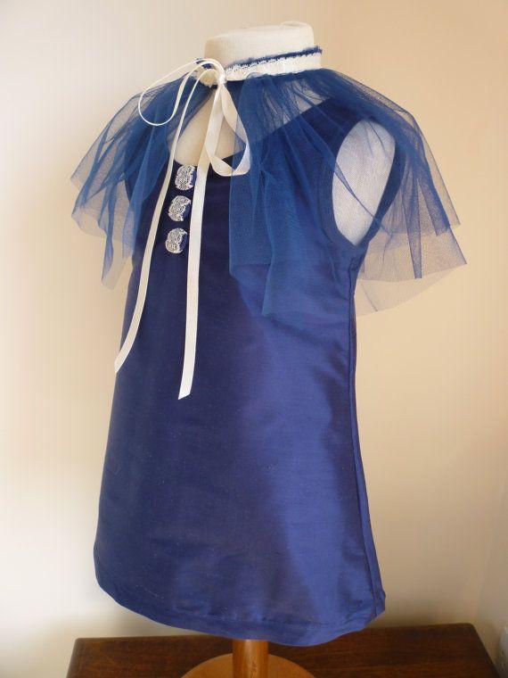 Saphire Navy Blue Silk Bridesmaids Dress  Girls by AnnaandAlex, £120.00