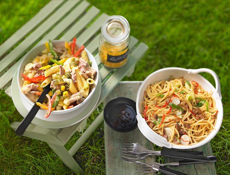 Curry-Nudelsalat mit Paprika und Thunfisch