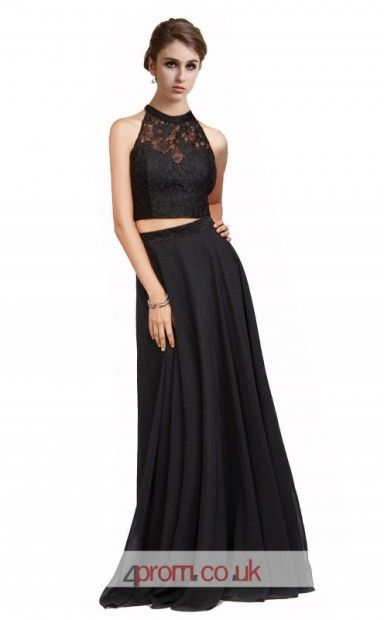 c19c614648 Black Lace Chiffon A-line Halter Long Two Piece Prom Dress(JT3618 ...