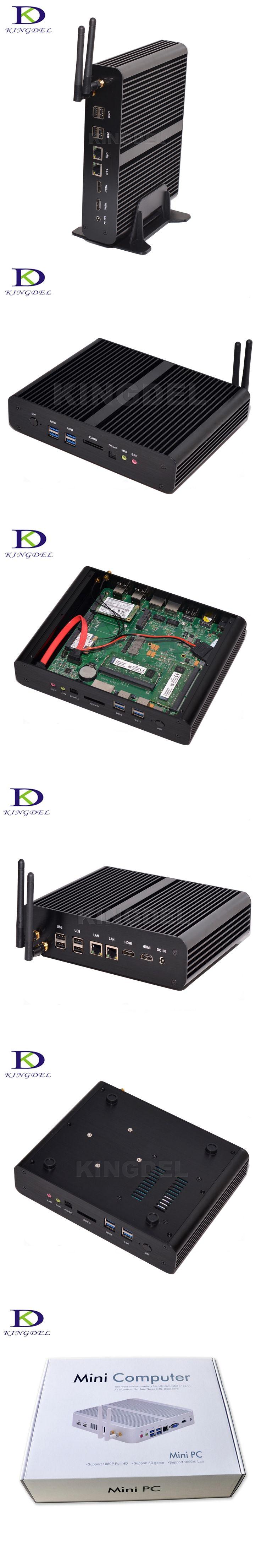 Hot on Sale Windows 10 Fanless Mini PC Intel Core i7 5500U 5550U Dual LAN Desktop Computer Dual HDMI HTPC with SD Card Reader