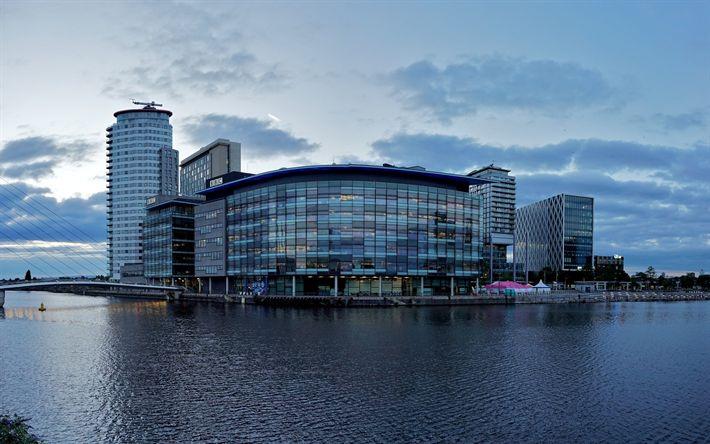 Télécharger fonds d'écran Manchester, ville de soirée, les bâtiments, Angleterre, royaume-UNI