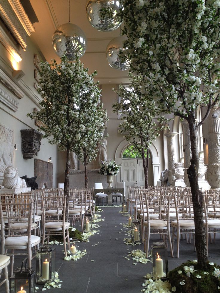 Weddings Blossom Trees Ceremony Decoration Aynho Park