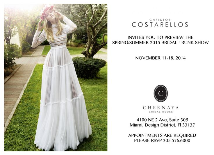 Our effortless chic Christos Costarellos Spring/Summer 2015 Bridal #TrunkShow hits Miami at Chernaya Bridal House starting Nov. 11th! Book your appointment now!  #christoscostarellos #costarellos #costarellosbride #trunkshow #theweddingclub #fashionnews #bridetobe #bridalgown #bridaldress #bridalmarket #madeingreece #lace #instabride #weddingideas #luxury #luxurywedding #luxuryfashion #lux #luxe #brides #thatdress #miami #miamifashion #miamibride #sochic #weddinggowns