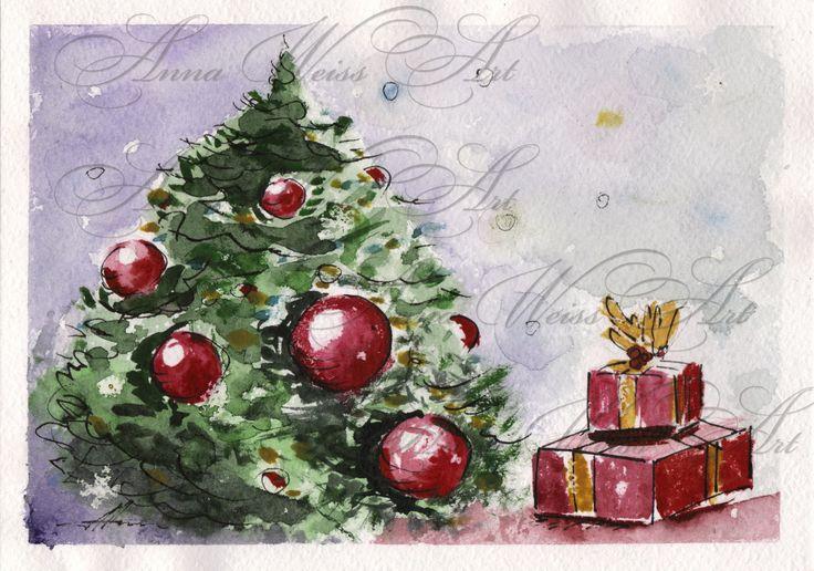 Christmas Tree Greeting Card Art original watercolor postcard russian souvenir winter bright fine art by AnnaWeissArt on Etsy
