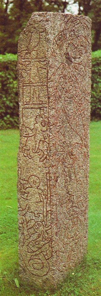 Thor with hammer carved on Runestone   11th Century CE. Altuna, Sweden