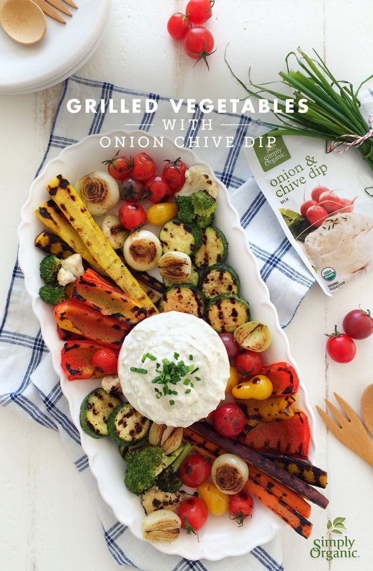 Dive into this easy grilled vegetable recipe that highlights seasonal vegetables and delightfully fresh, creamy onion chive dip.