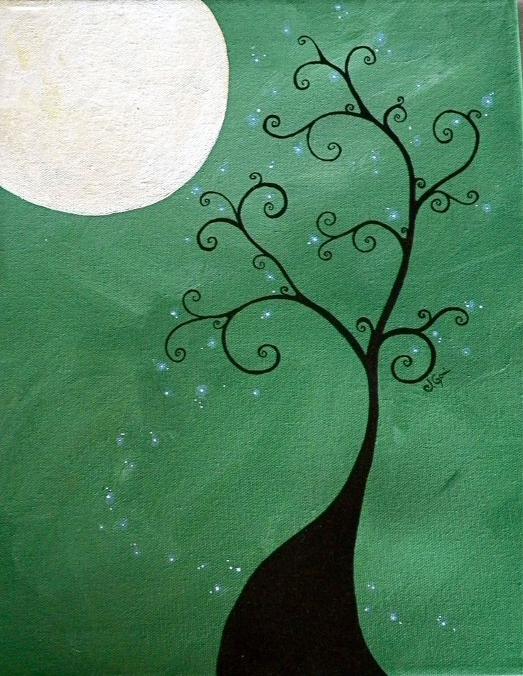 ORIGINAL Twisted to the Moon acrylic on canvas by xXSnapDragon, $155.00