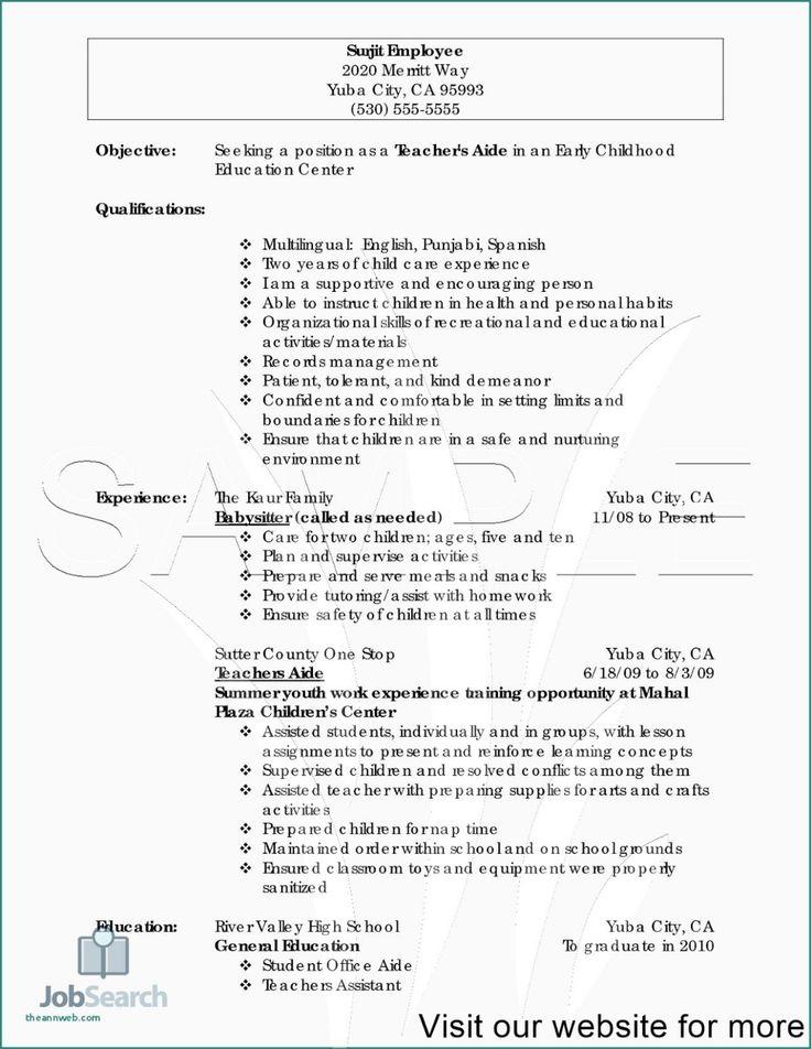 preschool teacher resume objective examples preschool