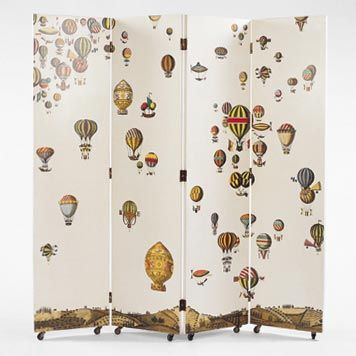 An elaborate rendering of a 19th century balloon race is depicted in this screen by Fornasetti.