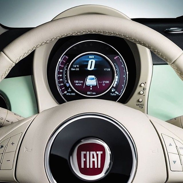 We haven't forgot about the speedometer lancets! This is the new 7'' TFT digital display of #Fiat500 #Cult!