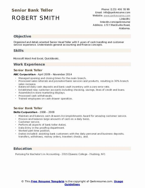 Bank Teller Resume Objective With No Experience Fresh Senior Bank Teller Resume Samples In 2020 Bank Teller Resume Resume No Experience Nurse Skills