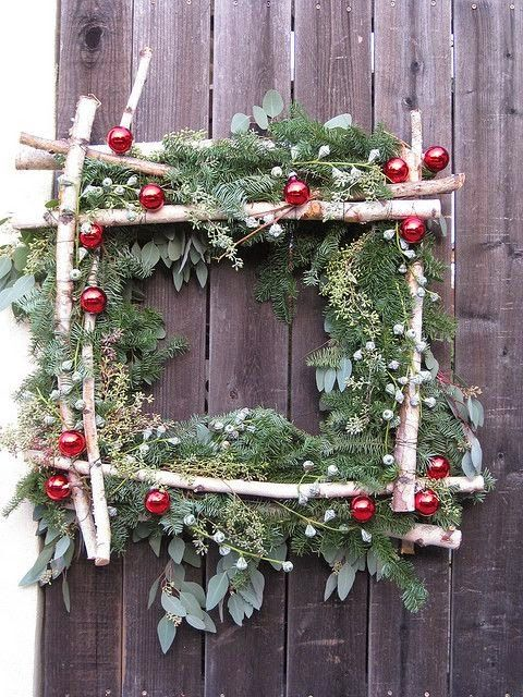 Birch Wreath -- square. Easy DIY, nail branches together and stick in greenery