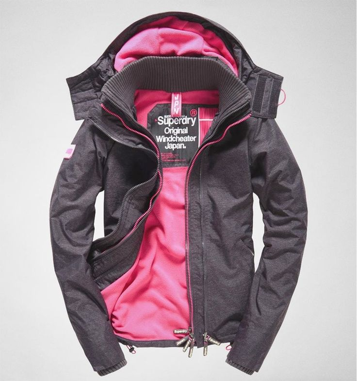 Superdry Pop Zip Hood Arctic Windchtr Light Navy Marl-Punk Pink
