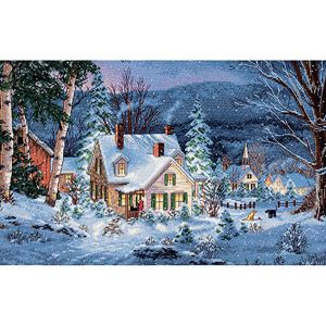 "Dimensions Gold Collection Winter's Hush Counted Cross Stitch Kit, 20"" x 14"", 16-Count"