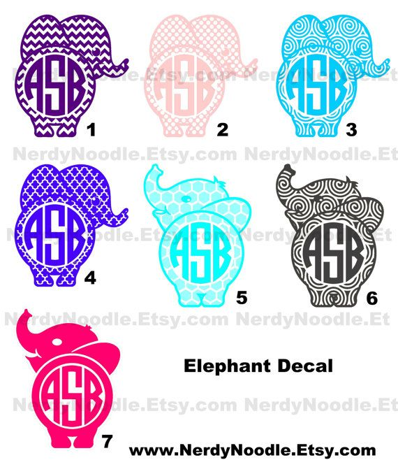 Elephant Decal Vinyl Car Window Sticker 5 inch  You by NerdyNoodle