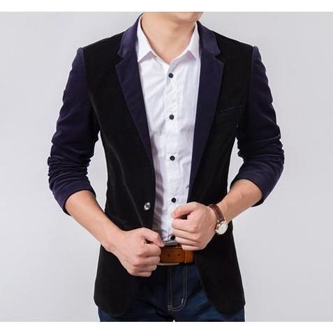 blazer cowok keren menggunakan bahan bludru desain jas slimfit pria untuk anak muda dan remaja yang ingin tampil gaul dan modern dalam busana terbaru