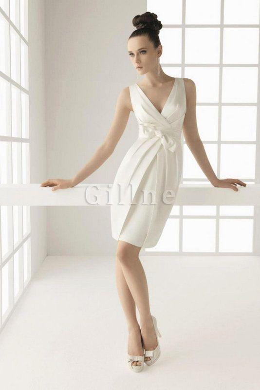 Robe de mariée naturel moderne avec sans manches fermeutre eclair bucolique