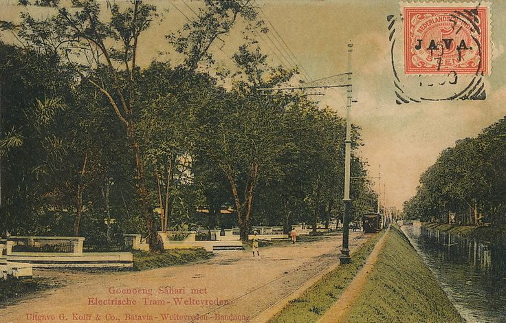 Very rare ppc in color of the first electric tramway Batavia.