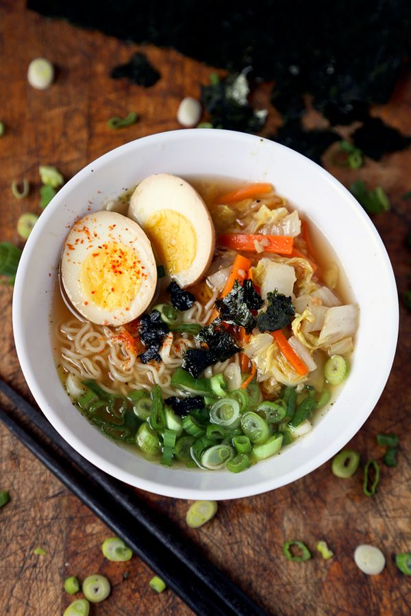 Miso ramen - looks good minus the pickled eggs! (Could use vegetable broth to make it vegetarian)